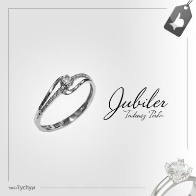 Złoty pierścionek z brylantem / diament