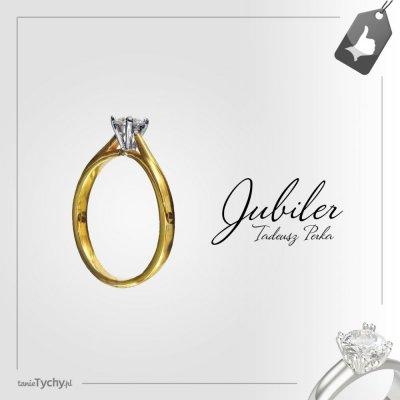 Złoty pierścionek z brylantem - diamentem