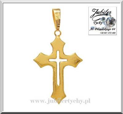 Złoty wisiorek krzyżyk zawieszka krzyż w krzyżu