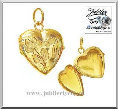 Złota zawieszka serduszko sekretnik otwierane serce na zdjęcia