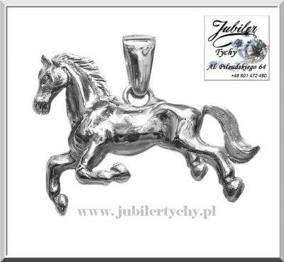 Duży srebrny wisiorek koń w 3D srebrna figurka konia
