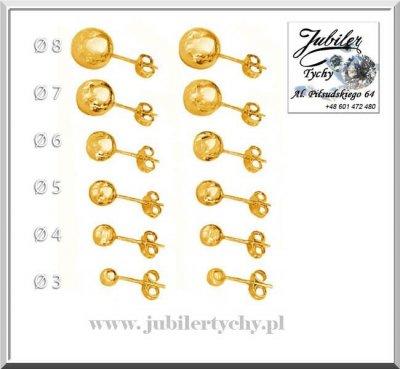 Złote kolczyki kuleczki gładkie kule kulki na sztyft Jubiler Tychy