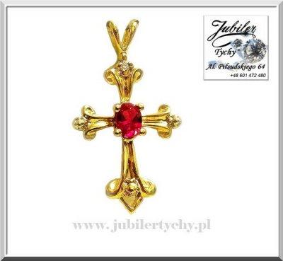 Złoty wisiorek krzyżyk ✝️ zawieszka krzyż z rubinem