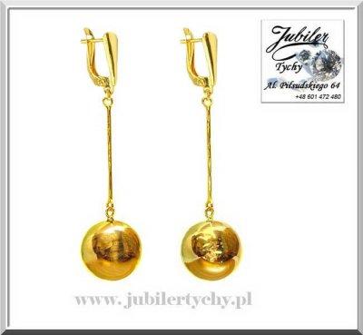Złote wiszące kulki długie kolczyki duże kule
