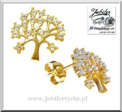 Złote kolczyki drzewo życia ❤️ drzewko szczęścia z cyrkoniami